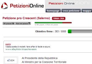 La pagina su Petizionionline.it dedicata al Crescent